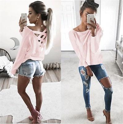 New  Women's Loose Long Sleeve Top, Summer Back Cross T-Shirt, Casual, Cotton T-Shirt 2