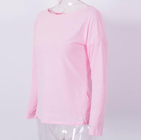 New  Women's Loose Long Sleeve Top, Summer Back Cross T-Shirt, Casual, Cotton T-Shirt 4