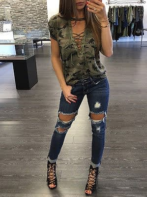 Women's Summer Short Sleeve, Camouflage, Loose Casual, T Shirt Top, Bandage Hollow Out T-Shirt 5