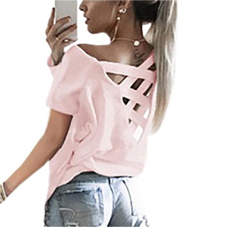 Women's Sexy Backless Hollow Bandage Punk Tee Shirt, Woman's Short Sleeve Summer T-Shirt