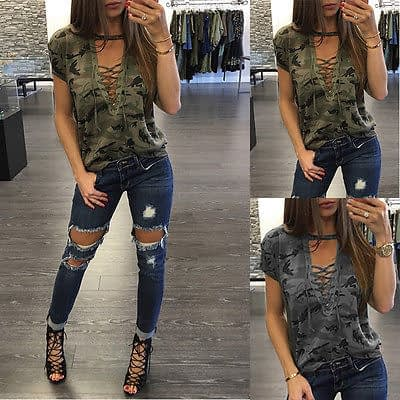 Women's Summer Short Sleeve, Camouflage, Loose Casual, T Shirt Top, Bandage Hollow Out T-Shirt 1