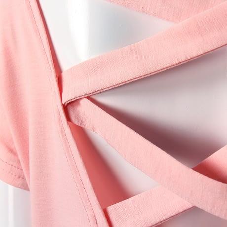 Women's Sexy Backless Hollow Bandage Punk Tee Shirt, Woman's Short Sleeve Summer T-Shirt 5