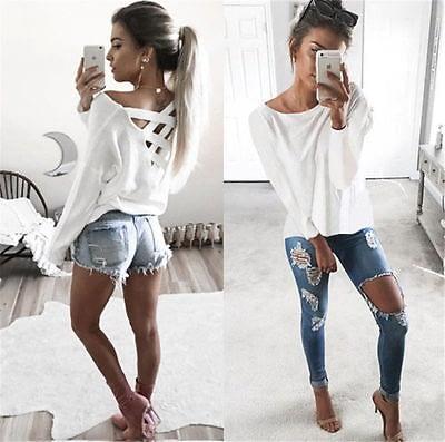 New  Women's Loose Long Sleeve Top, Summer Back Cross T-Shirt, Casual, Cotton T-Shirt 3