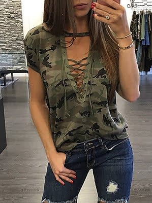 Women's Summer Short Sleeve, Camouflage, Loose Casual, T Shirt Top, Bandage Hollow Out T-Shirt 4