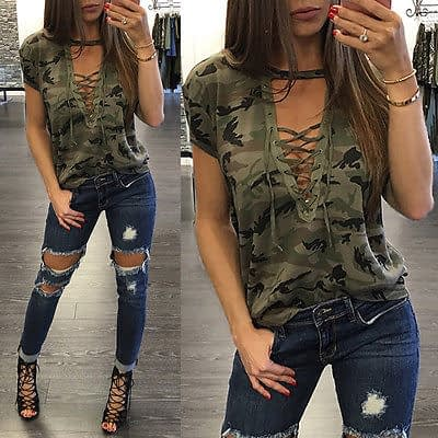 Women's Summer Short Sleeve, Camouflage, Loose Casual, T Shirt Top, Bandage Hollow Out T-Shirt