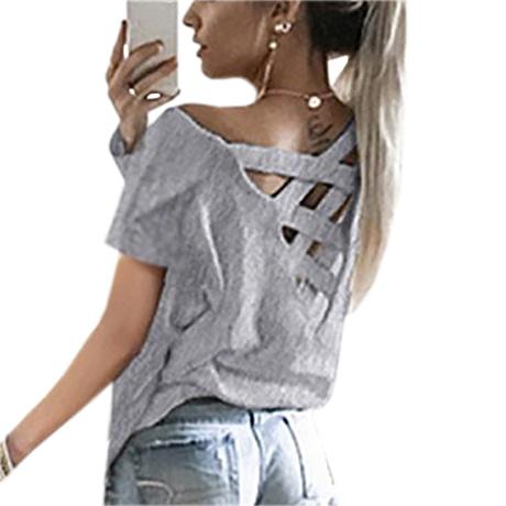 Women's Sexy Backless Hollow Bandage Punk Tee Shirt, Woman's Short Sleeve Summer T-Shirt 1