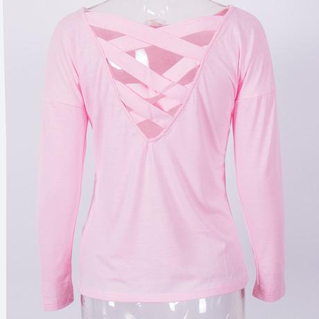 New  Women's Loose Long Sleeve Top, Summer Back Cross T-Shirt, Casual, Cotton T-Shirt 5