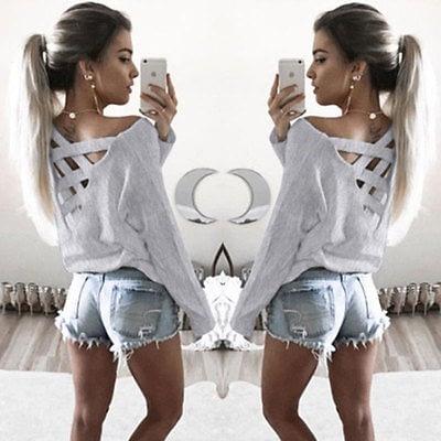New  Women's Loose Long Sleeve Top, Summer Back Cross T-Shirt, Casual, Cotton T-Shirt 1